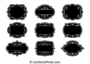 Label ornamental black frames vintage set vector
