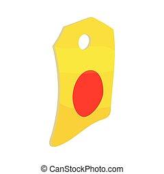 Label paper icon, cartoon style