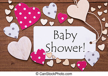 Label, Pink Hearts, Text Baby Shower