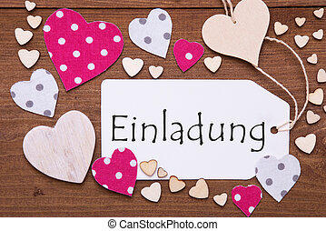 Label, Pink Hearts, Text Einladung Means Invitation - One...