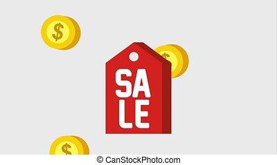 label, prijs, verkoop, dalende muntstukken