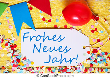 Label, Red Balloon, Frohes Neues Jahr Means Happy New Year -...