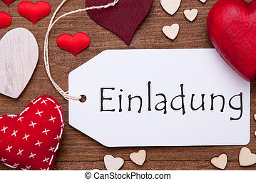 Label, Red Hearts, Flat Lay, Einladung Means Invitation -...