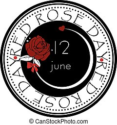 Label Red Rose Day - Round stamp print for Red Rose Day - ...