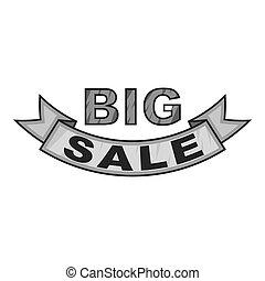 Label ribbon big sale icon, gray monochrome style