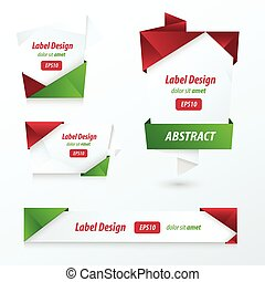 Label, Ribbon Origami, 2 color Christmas