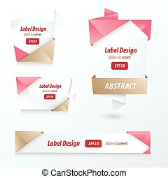Label, Ribbon Origami Style, love style