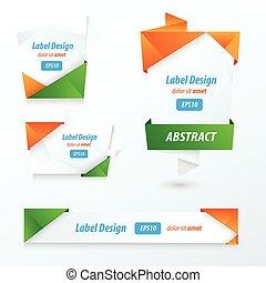 Label, Ribbon Origami Style, orange, green, blue