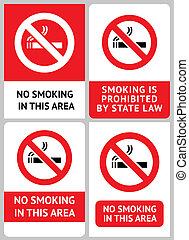 Label set No smoking, vector design element