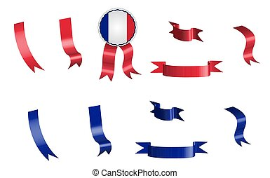 label, set of red and blue ribbons with tag, in colors of France flag. Isolated vector on white background