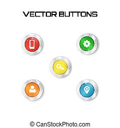 label set vector. 5 color buttons with glass surfise. icons.
