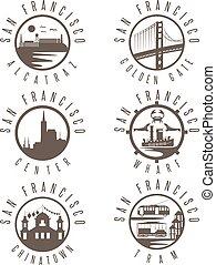 Label set with landmarks of San Francisco California,USA . Wharf , Alcatraz,Business Center ,Golden Gate bridge and Chinatown illustrations.