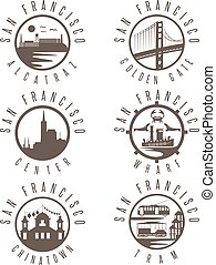Label set with landmarks of San Francisco California,USA . Wharf , Alcatraz,Business Center ,Golden Gate bridge and Chinatown illustrations.