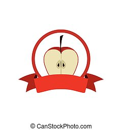 label silhouette colorful with half apple