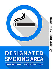 Label smoking area sticker, flat design - Label smoking area...