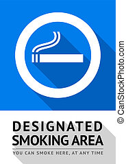 Label smoking area sticker, vector illustration