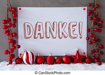 Label, Snow, Christmas Balls, Danke Means Thank You
