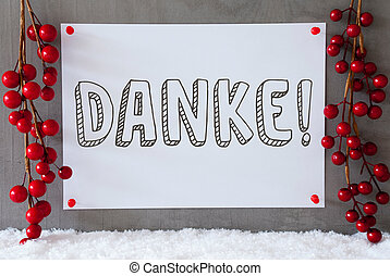 Label, Snow, Christmas Decoration, Danke Means Thank You