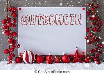 Label, Snowflakes, Christmas Balls, Gutschein Means Voucher...