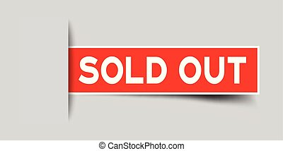 Label square red sticker in word sold out that insert under gray background (vector)