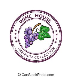 Label stamp with wine collection and colored grape