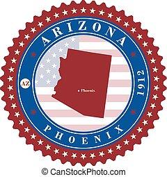 Label sticker cards of State Arizona USA