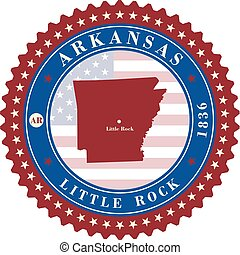 Label sticker cards of State Arkansas USA.