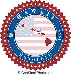 Label sticker cards of State Hawaii USA