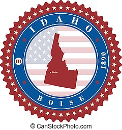 Label sticker cards of State Idaho USA