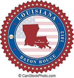 Label sticker cards of State Louisiana USA