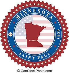 Label sticker cards of State Minnesota USA