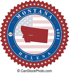 Label sticker cards of State Montana USA.