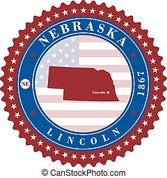Label sticker cards of State Nebraska USA