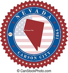 Label sticker cards of State Nevada USA.