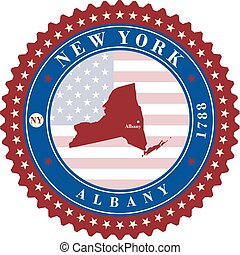 Label sticker cards of State New York USA. Stylized badge...