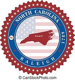 Label  sticker cards of State North Carolina  USA