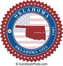 Label sticker cards of State Oklahoma USA.