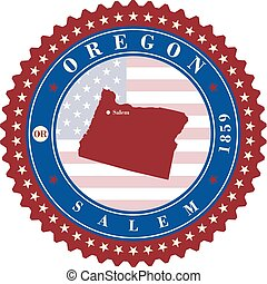 Label sticker cards of State Oregon USA.