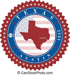 Label sticker cards of State Texas USA