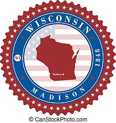 Label sticker cards of State Wisconsin USA