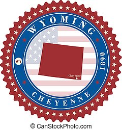 Label sticker cards of State Wyoming USA.