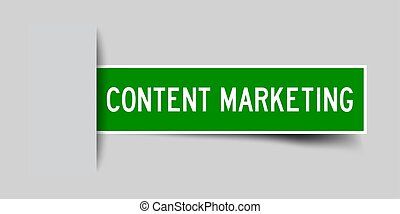 Label sticker green color in word content marketing that inserted in gray background