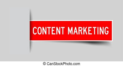 Label sticker red color in word content marketing that inserted in gray background