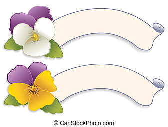 Label Tags, Johnny Jump Up Pansies - Two vintage label tags...