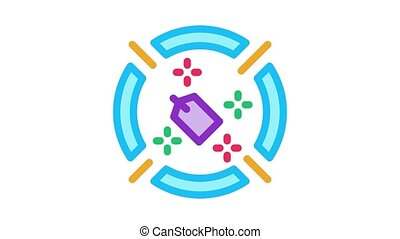 label target aim Icon Animation. color label target aim animated icon on white background