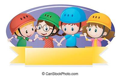 Label template with kids wearing helmet