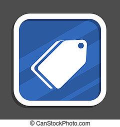 Label ticket blue flat design square web icon
