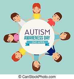 label to autism day with children together around vector...
