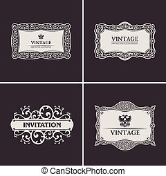 Label vector frames elegant border set. Vintage banner design