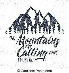 label., wanderlust, tipografía, montaña, insignia, ...